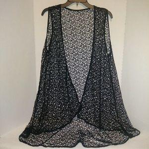 Jackets & Blazers - Black Cardigan Style Vest Black Open Weave Size 1X